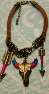 Native American Indian Leather Charm Bracelet